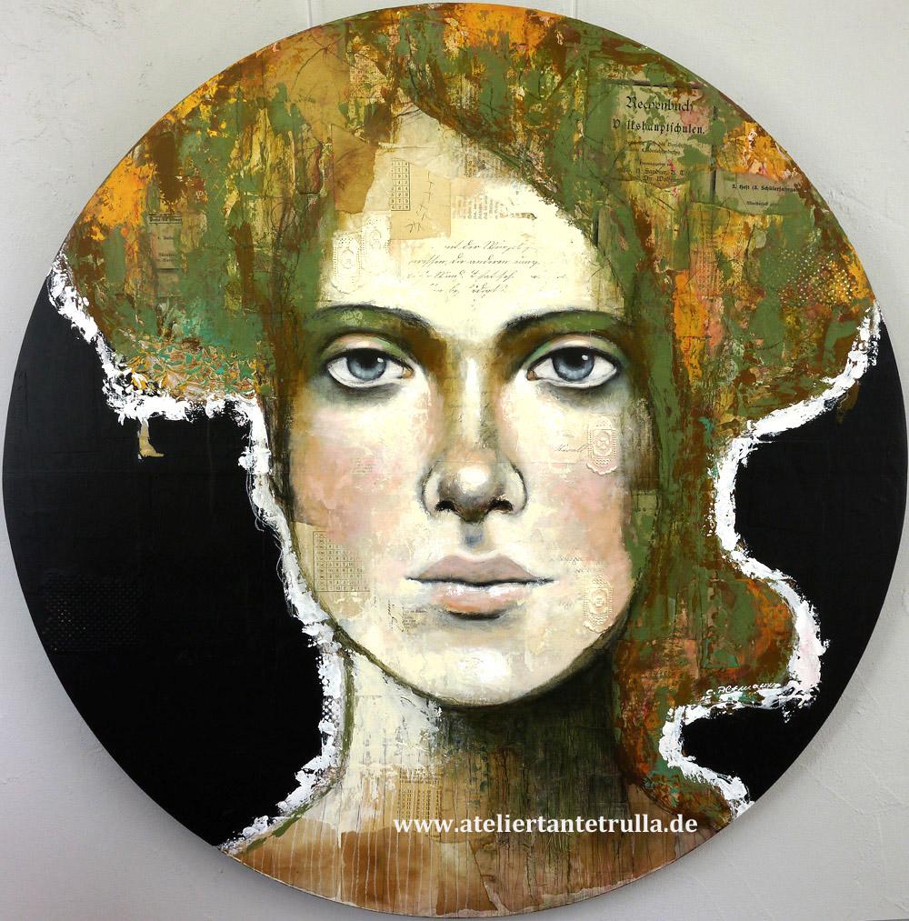 rundes Gemälde Gesicht