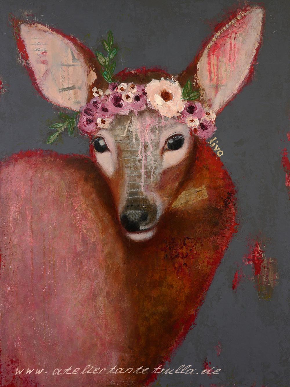 grau rotes Gemälde Reh mit Blumen von Conni Altmann www.ateliertantetrulla.de