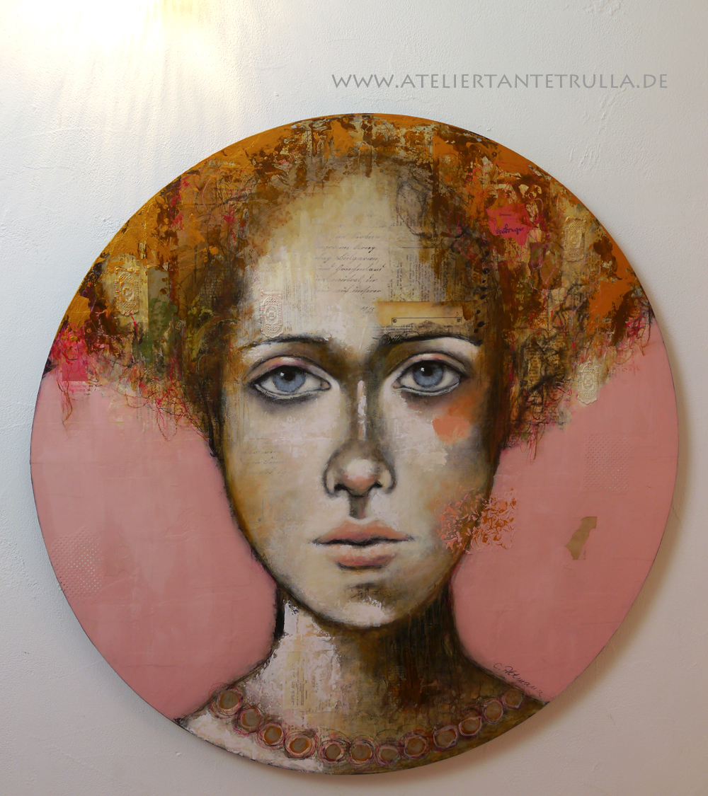 rosa Gemälde Gesicht Frau abstrakt