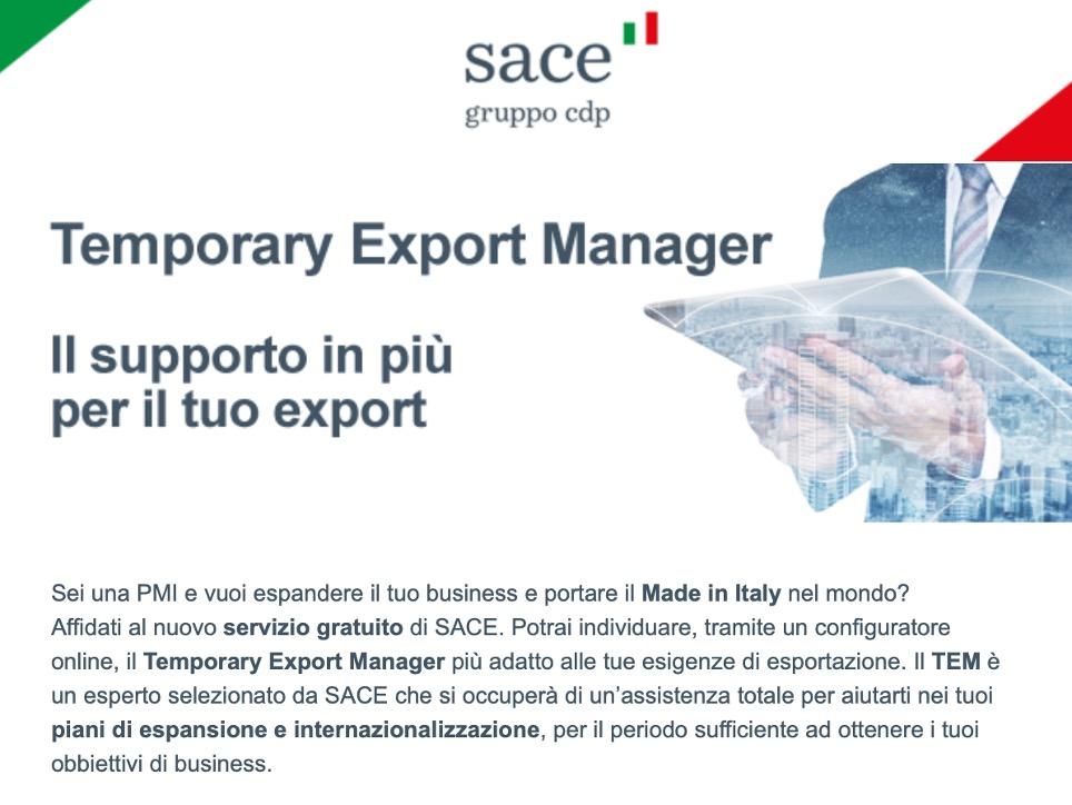 SACE suggerisce i migliori Export Manager