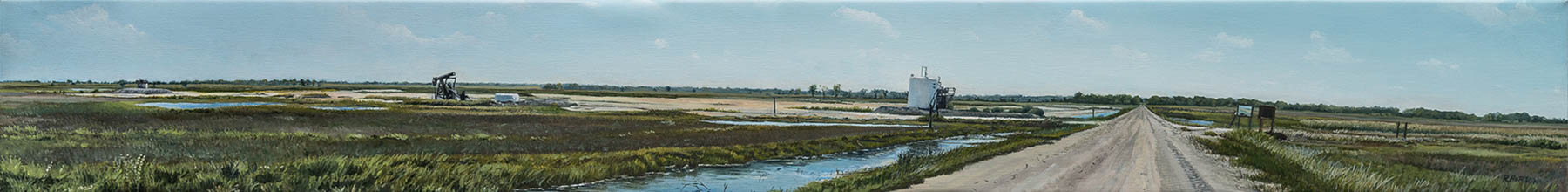 "Quivira Wildlife Refuge, Northeast 170th Street by Russell Horton, Oil on canvas, 7 3⁄4""x54 1⁄4"", $3000"