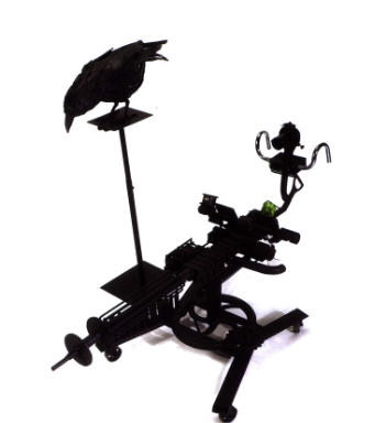 Crow with Machine Gun   SOLD  Found Object sculpture