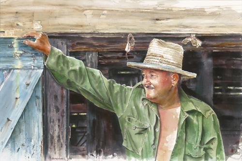 Tobacco Man by Tony Armendariz, watercolor  $2300
