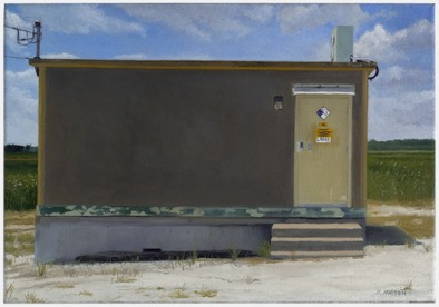 """Signal Shed, Farley, MO 2016     Oil on Canvas     14""""x20""""     $750"""