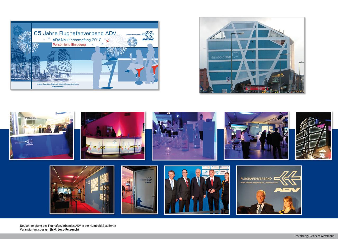 Veranstaltungsdesign (Inkl. Logo-Relaunch) Neujahrsempfang  in der HumboldtBox Berlin | Kunde: Flughafenverband ADV