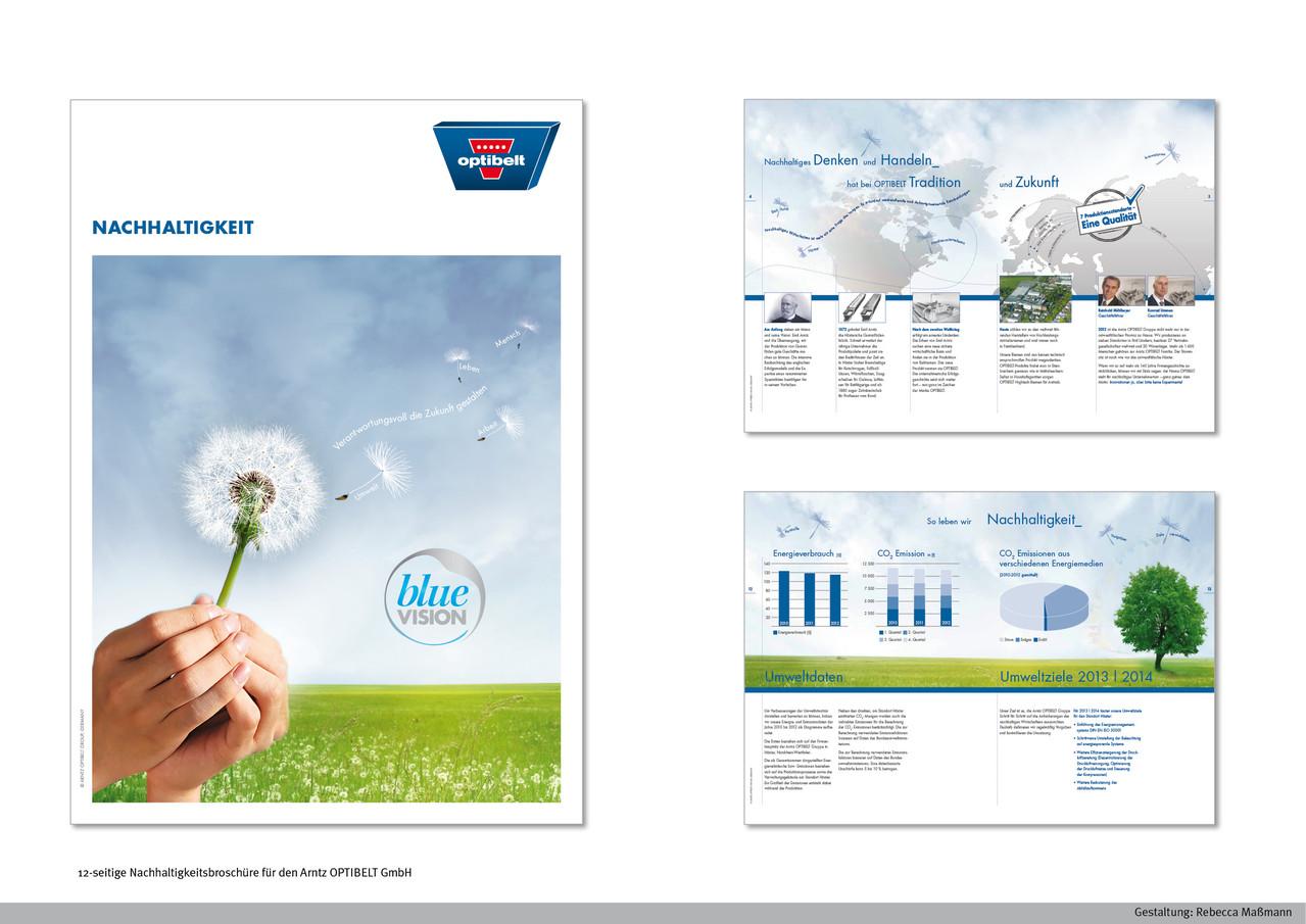 12-seitige Nachhaltigkeitsbroschüre | Kunde: Arntz OPTIBELT | Realisation in Kooperation mit merchandising-hoch2.de