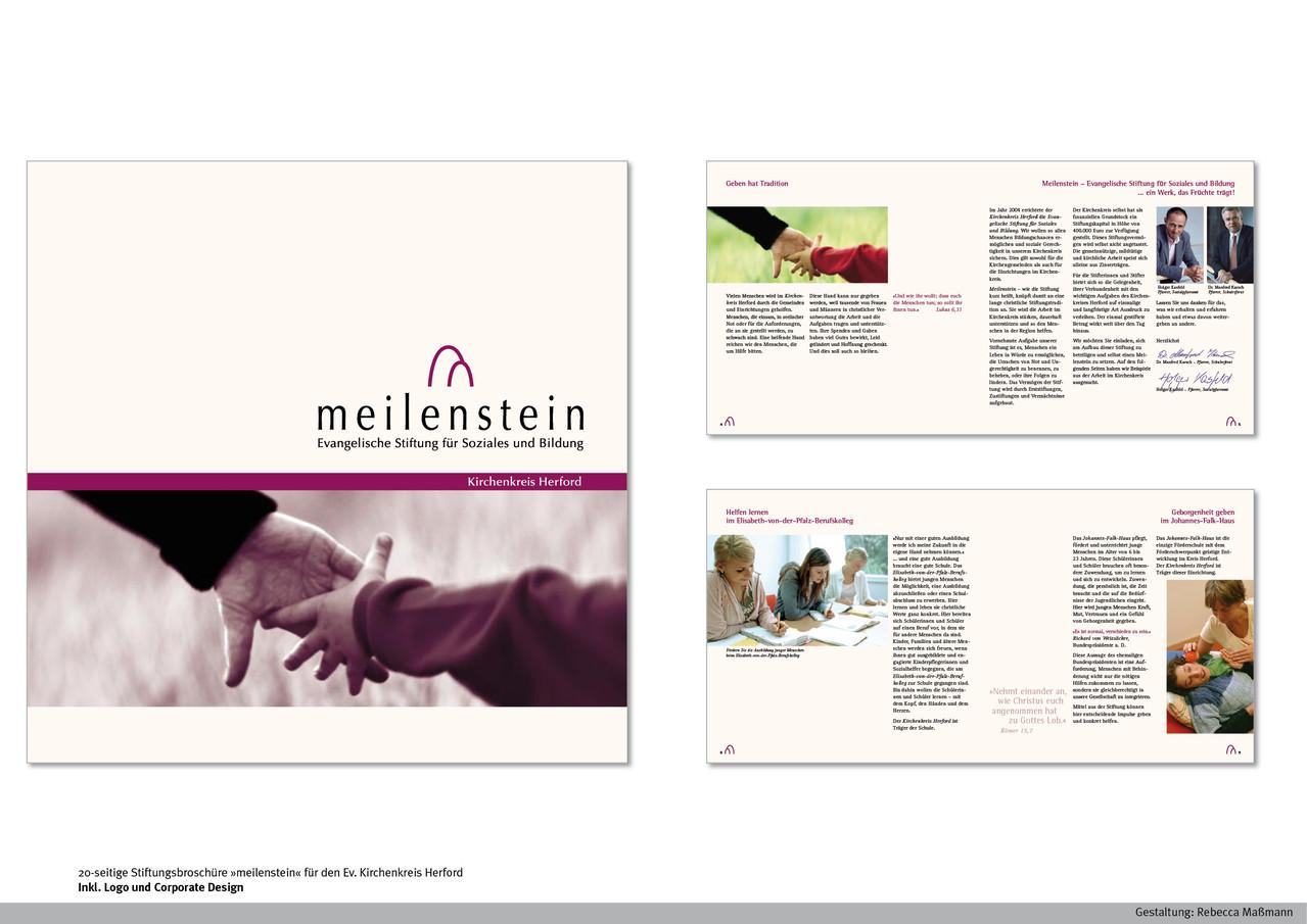 Stiftungsbroschüre »meilenstein« Inkl. Logo-Entwicklung und Corporate Design | Kunde: Ev. Kirchenkreis Herford