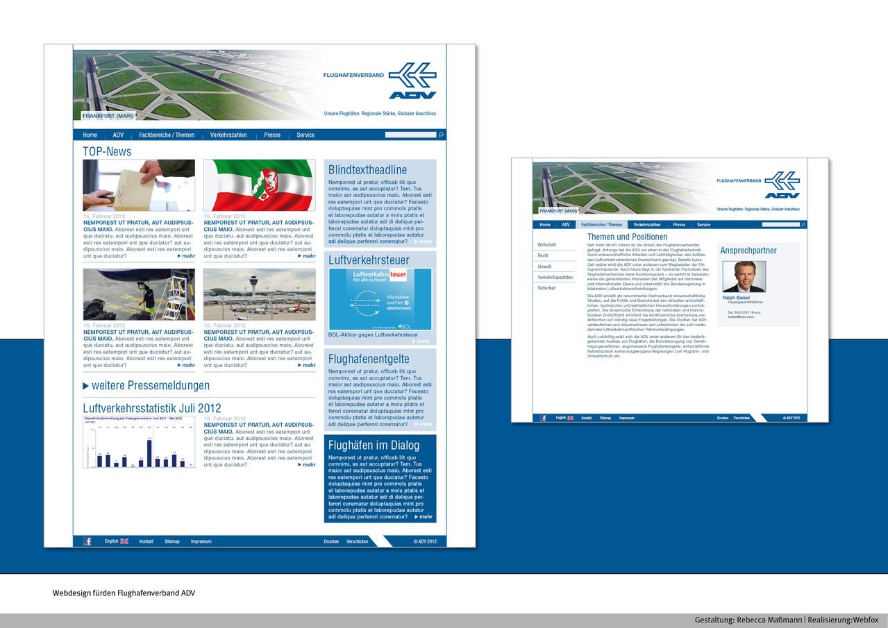 Webdesign | Kunde: Flughafenverband ADV | www.adv.aero