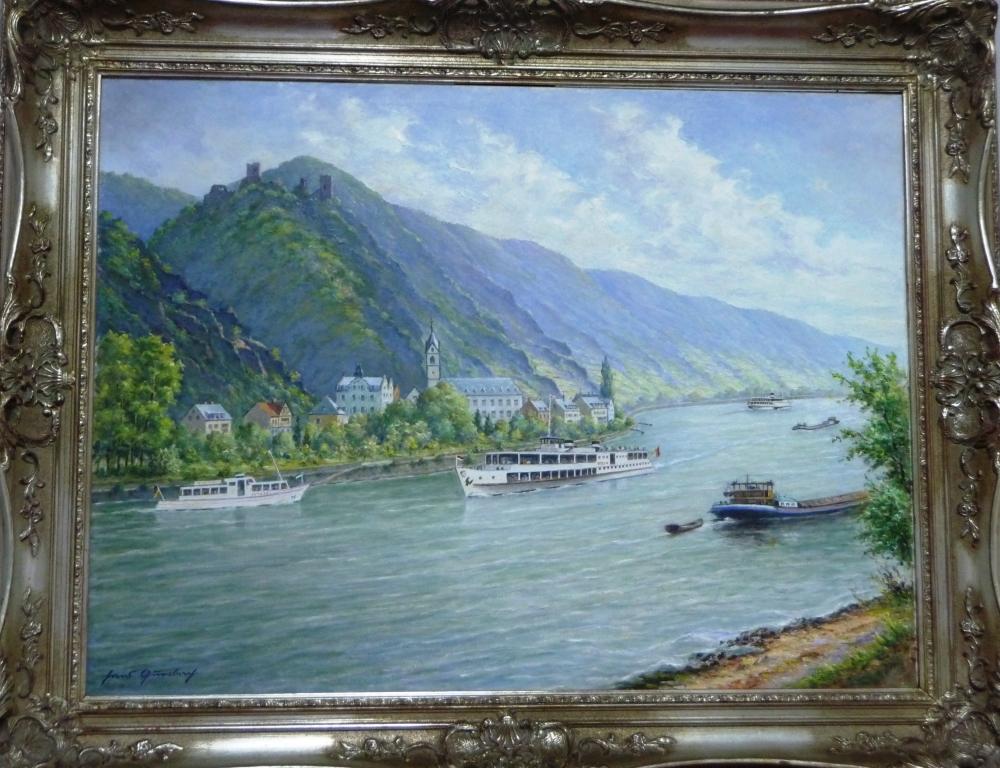 Hans Querbach: Blick auf Bornhofen von der linken Rheinseite