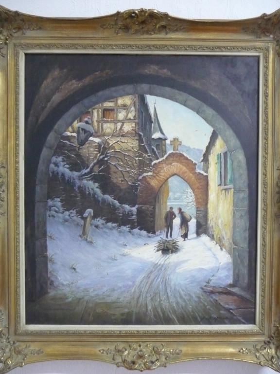 Hans Querbach / Durchgang an der alten Kirche- Ölgemälde