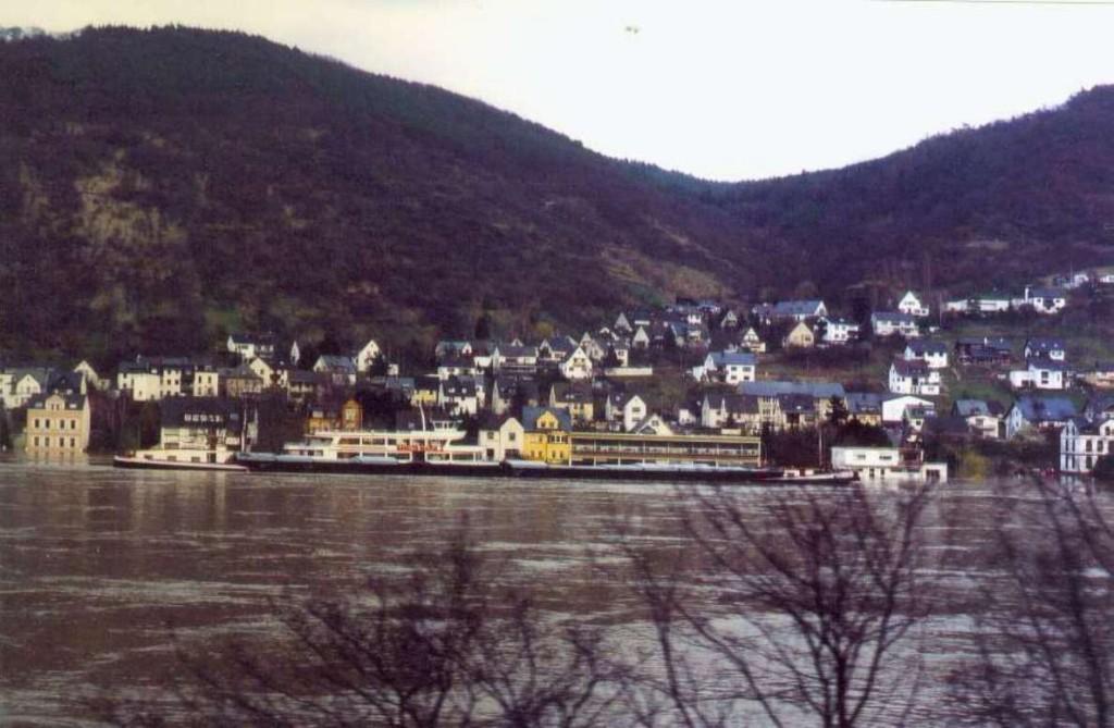 1988 Hochwasser. Blick von der linken Rheinseite auf Kamp