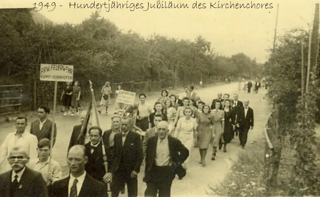 Kirchenchor 1949 Festzug.(Schifferverein- Feuerwehr- Kirchenchor)
