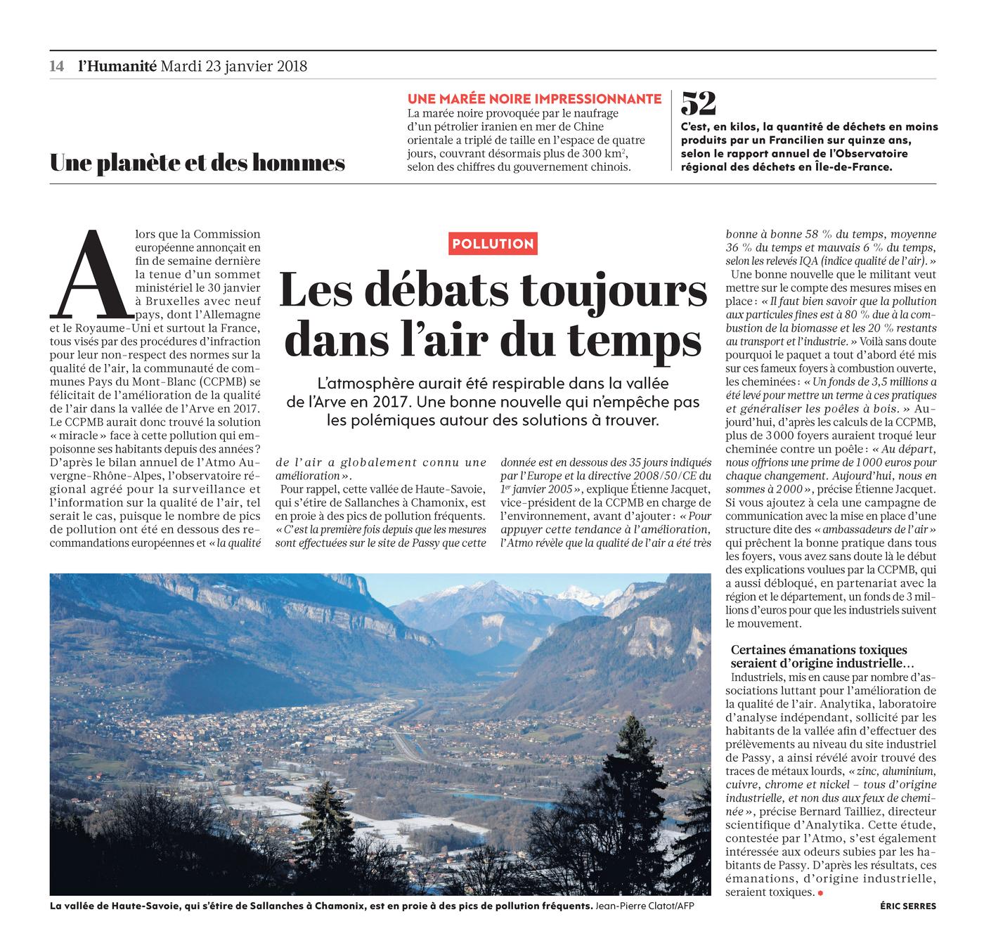 """23.01.2018 > L'HUMANITÉ : """"Pollution dans la vallée de l'Arve : Les débats toujours dans l'air du temps"""""""