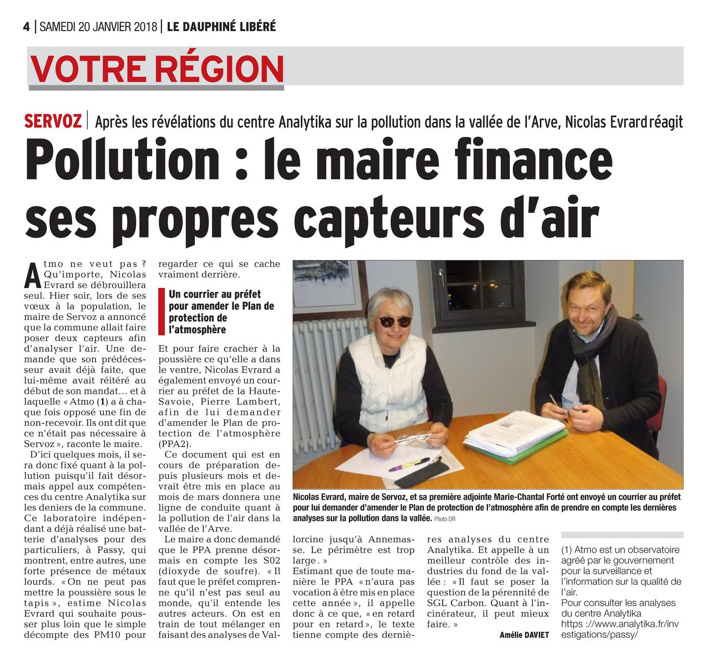 20.01.2018 > DAUPHINÉ LIBÉRÉ : « Pollution : le maire de Servoz finance ses propres capteurs d'air »