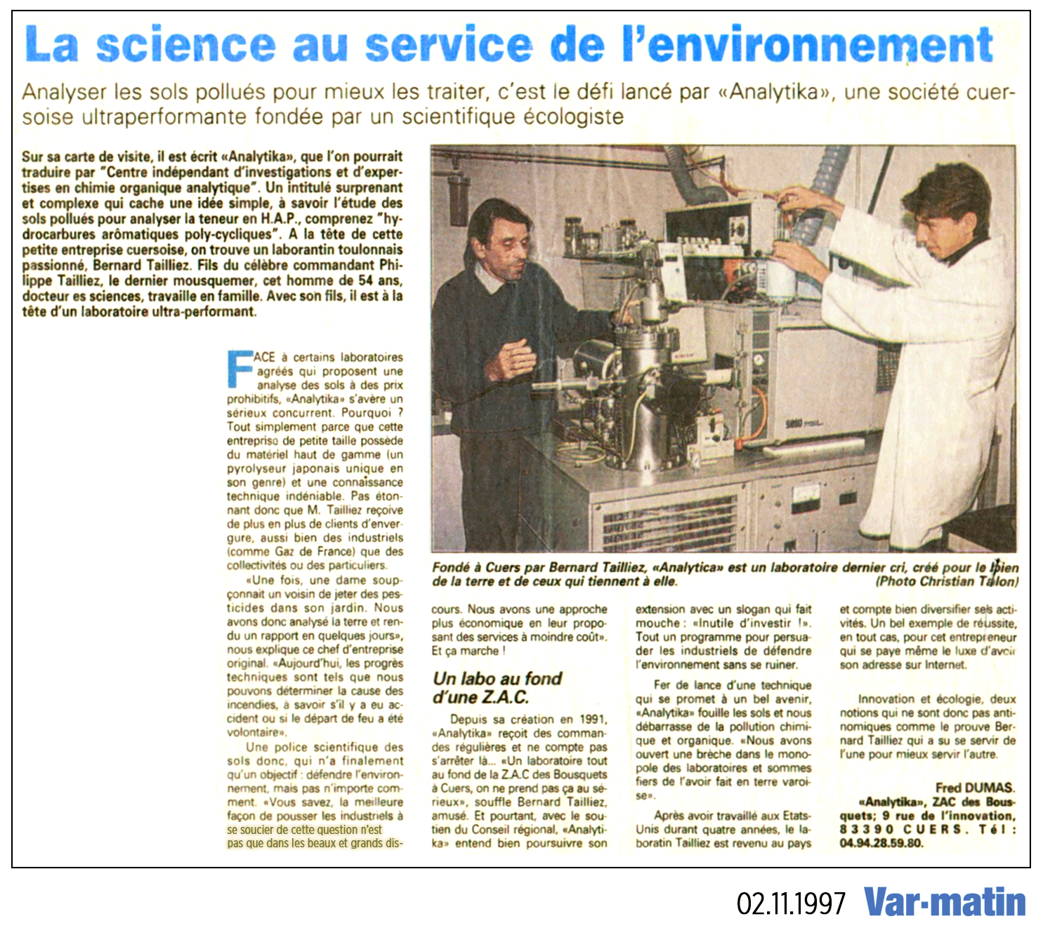 """02.11.1997 > VAR MATIN : """"La science au service de l'Environnement"""""""