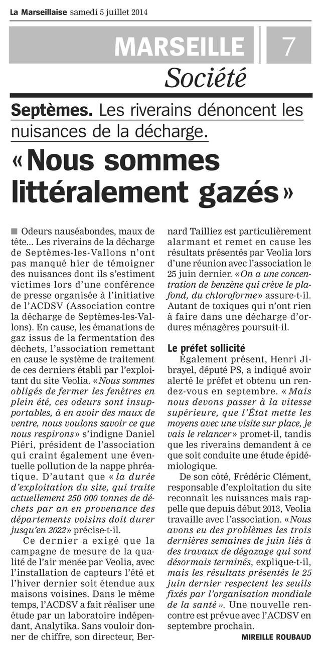 """05.07.2014 > LA MARSEILLAISE : """"Décharge de Septèmes-les-Vallons : « Nous sommes littéralement gazés »"""""""