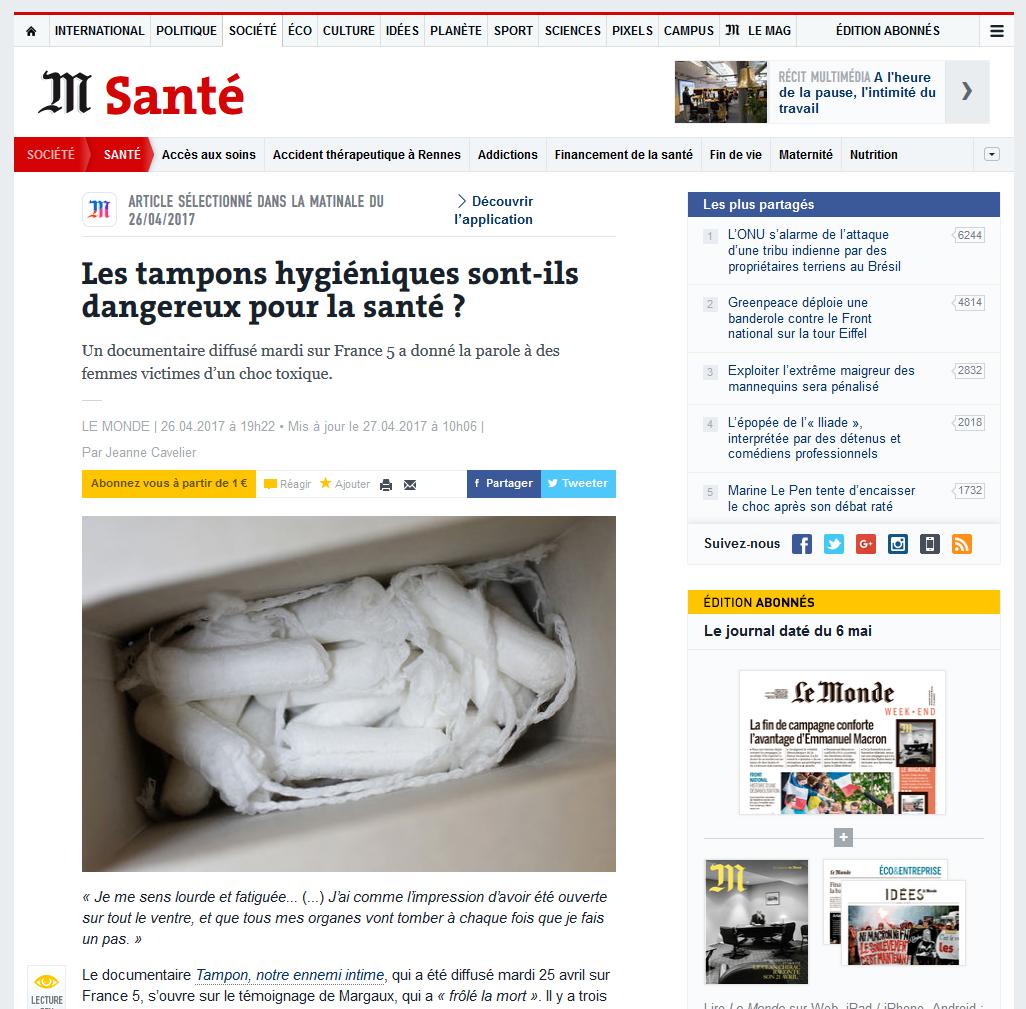 """27 AVRIL 2017 > LE MONDE : """"Les tampons hygiéniques sont-ils dangereux pour la santé ?"""""""