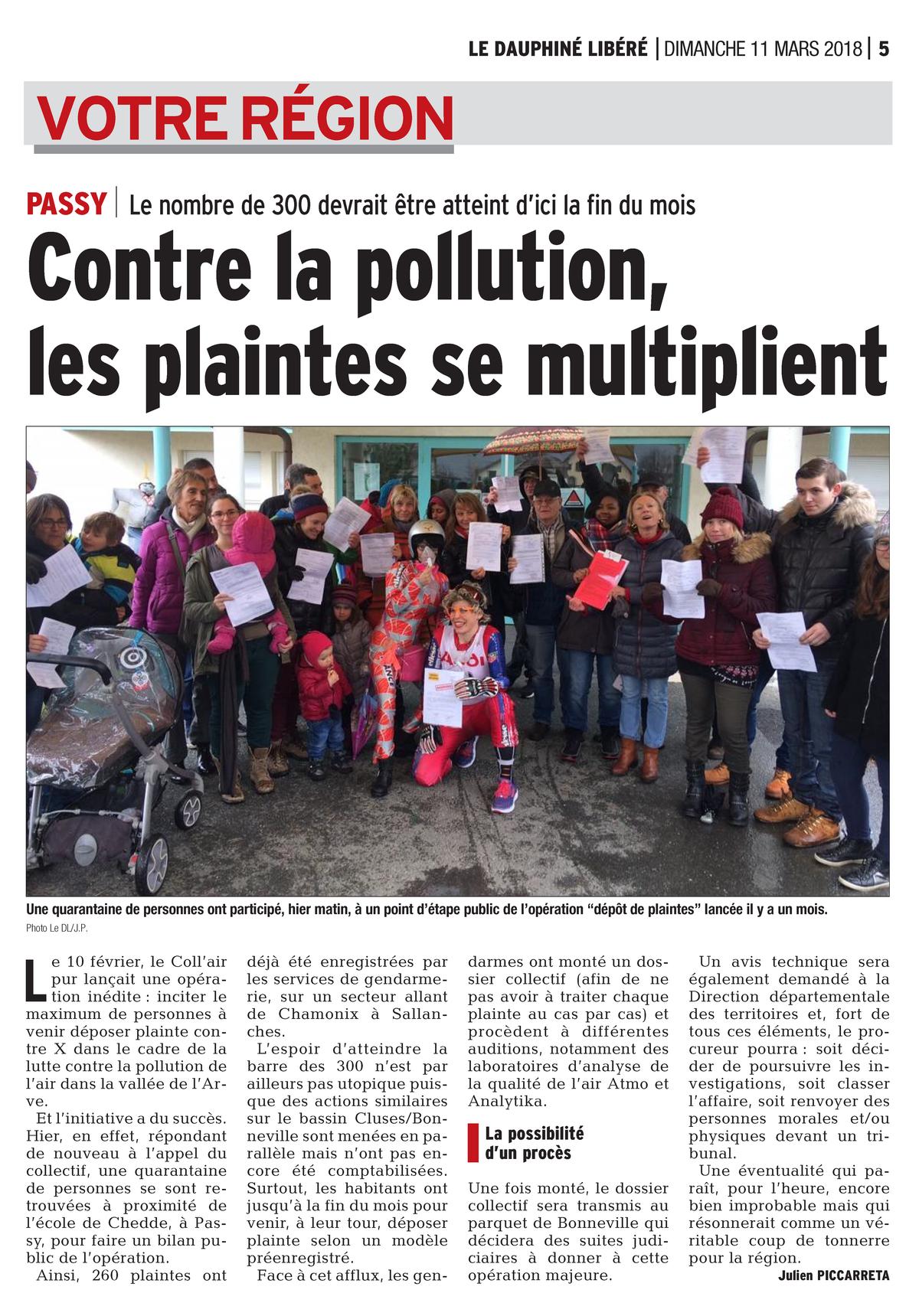 """11.03.2018 > LE DAUPHINÉ LIBÉRÉ : """"Passy : Contre la pollution dans la vallée de l'Arve, les plaintes se multiplient"""""""