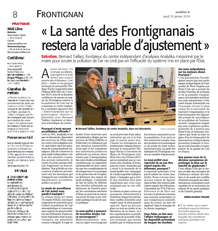 """25.01.2018 > MIDI-LIBRE : """"Pollution à Frontignan : « La santé des Frontignanais restera la variable d'ajustement »"""""""
