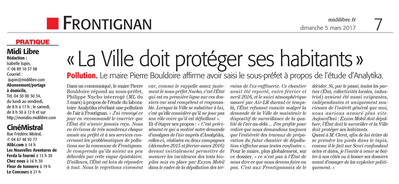 """05.03.2017 > MIDI-LIBRE : """"Pollution à Frontignan : « La Ville doit protéger ses habitants »"""""""