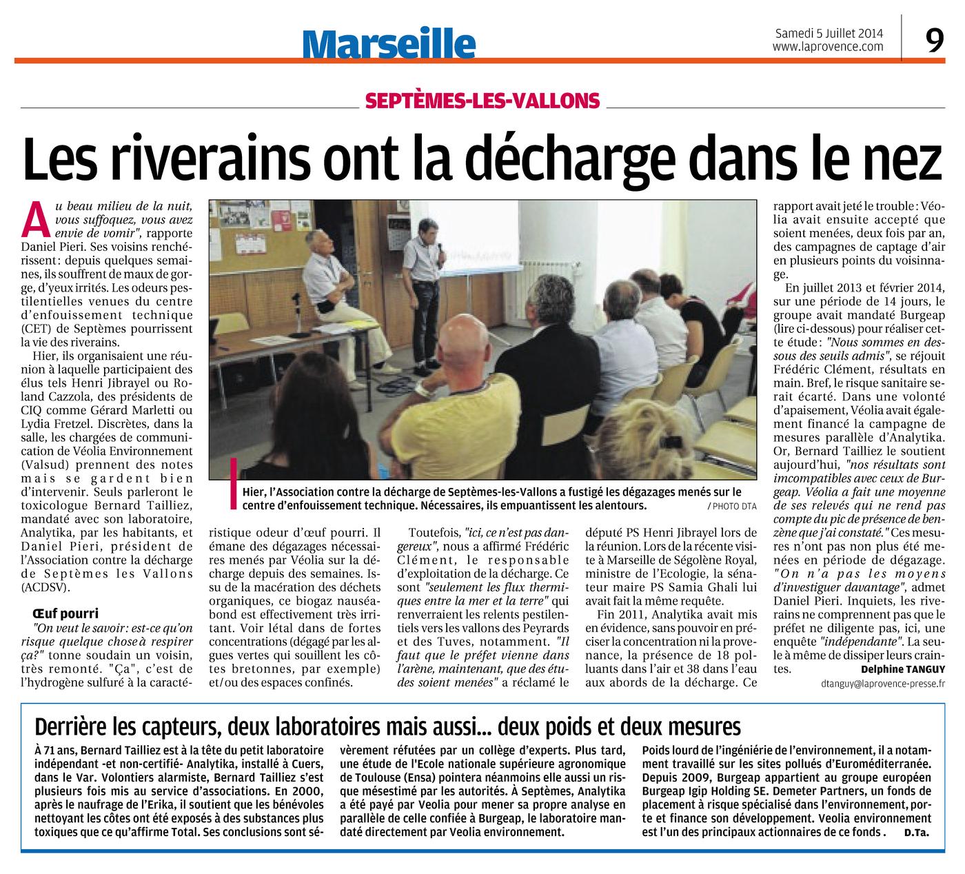 """06.07.2014 > LA PROVENCE : """"Décharge de Septèmes-les-Vallons : « Les riverains ont la décharge dans le nez »"""""""