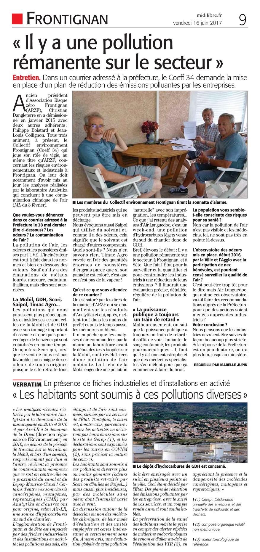 "16 Juin 2017 > MIDI-LIBRE : ""Frontignan - COEF34 : « Il y a une pollution rémanente sur le secteur »"""