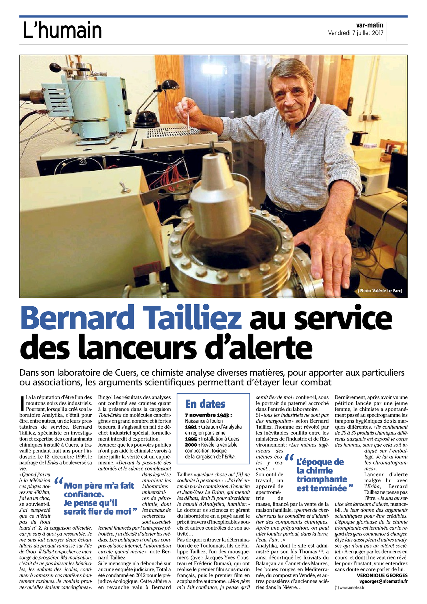 07.07.2017 > VAR-MATIN : L'humain : « Bernard Tailliez au service des lanceurs d'alerte »