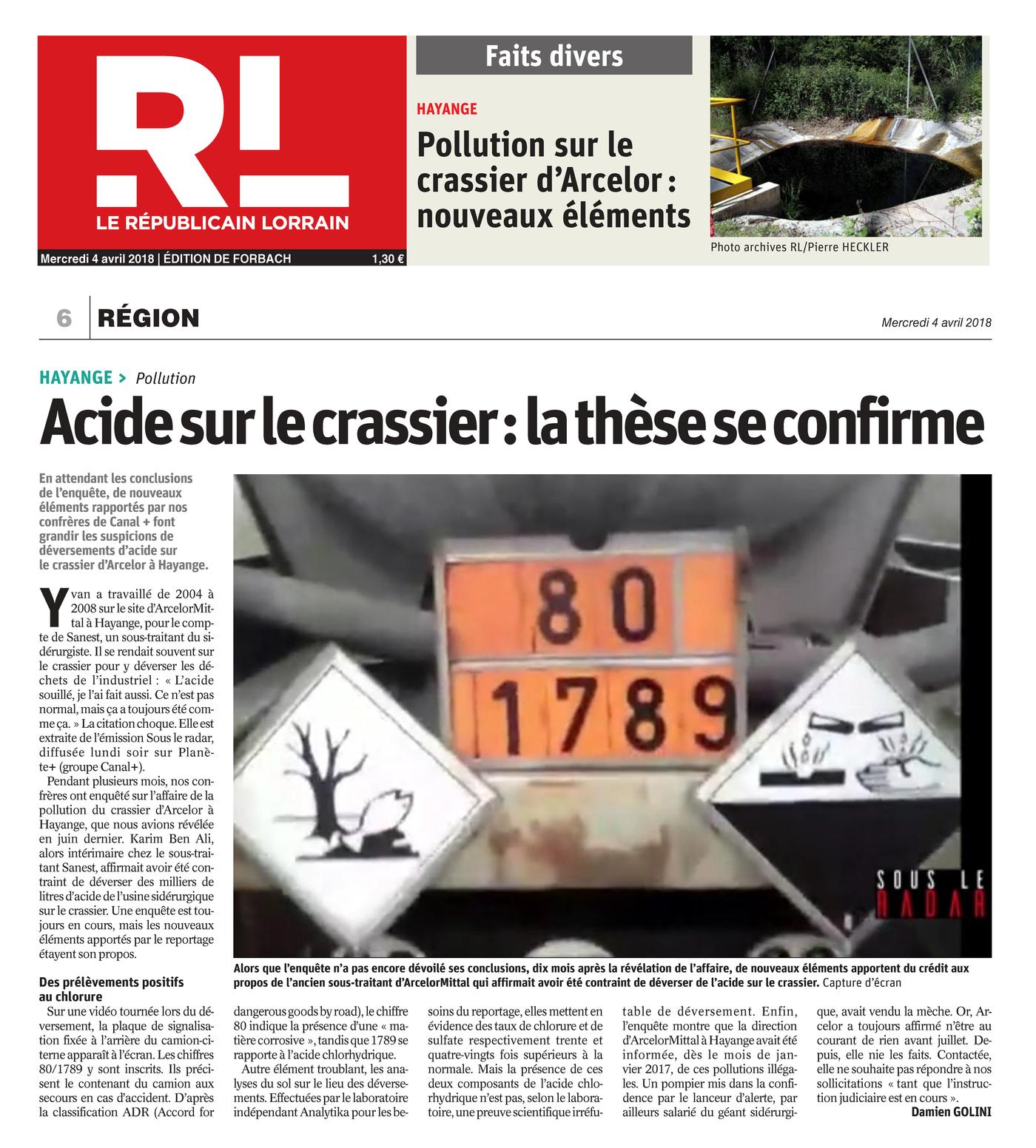 """04.04.2018 > LE RÉPUBLICAIN LORRAIN : """"Acide sur le crassier d'Hayange : la thèse se confirme"""""""