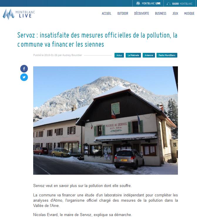 """26.01.2018 > MONT-BLANC LIVE : """"Servoz : insatisfaite des mesures officielles de la pollution, la commune va financer les siennes"""""""