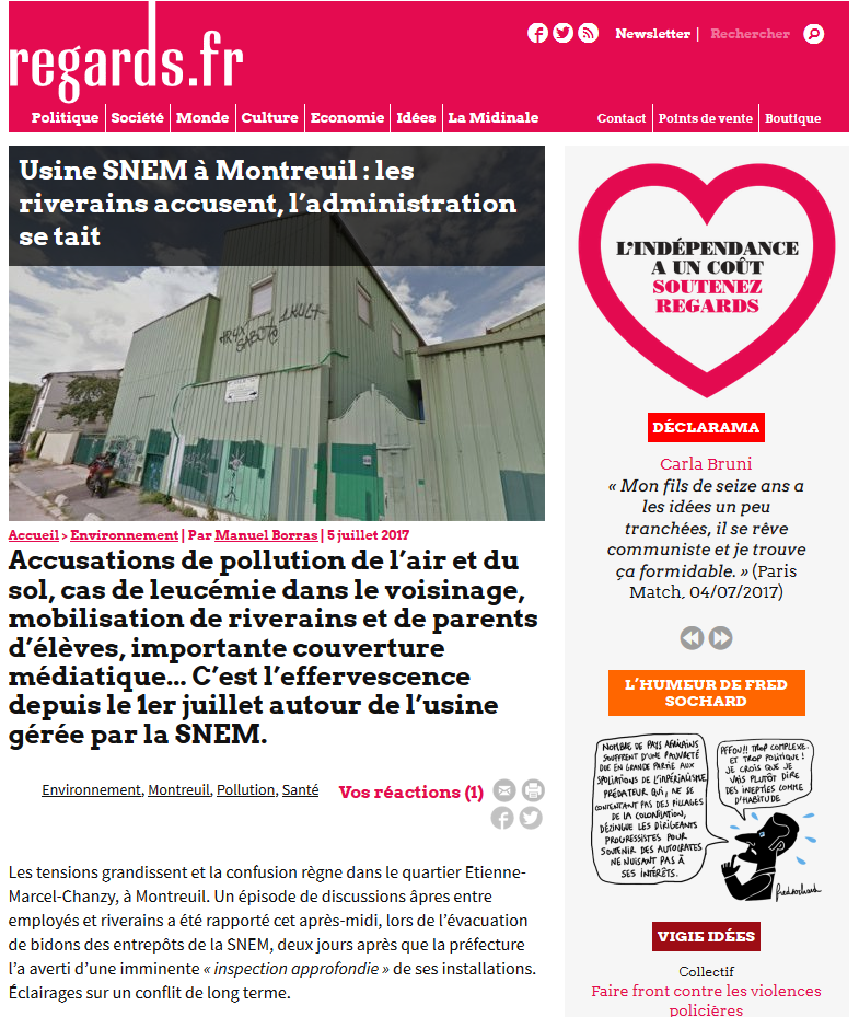 """05.07.2017 > REGARDS.FR : """"Usine SNEM à Montreuil : les riverains accusent, l'administration se tait"""""""
