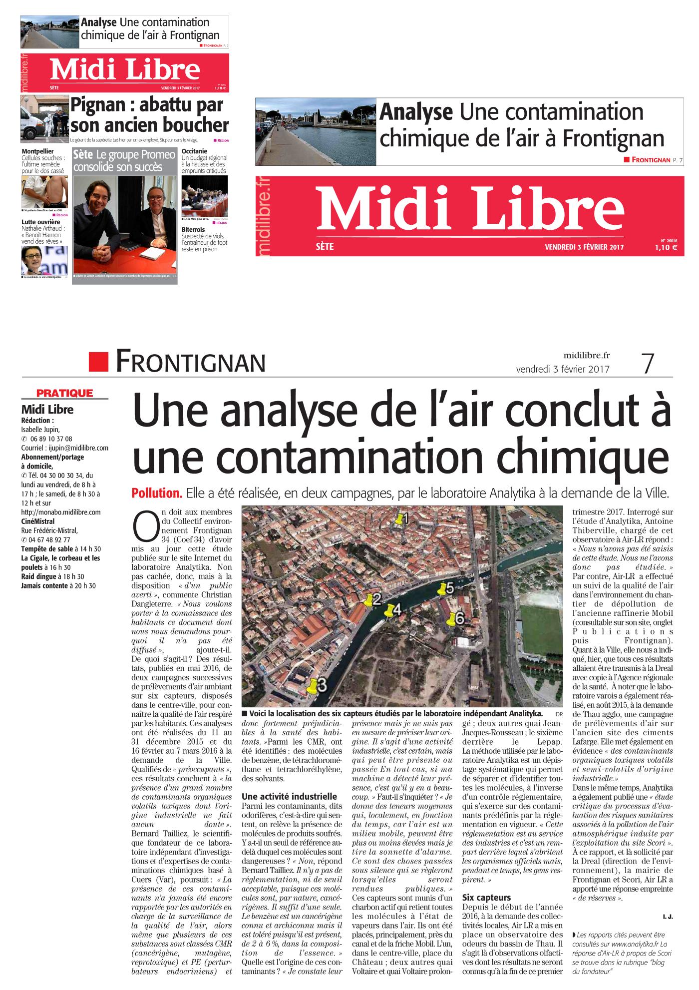 """03 FEVRIER 2017 > MIDI-LIBRE : """"Hérault : pollution toxique dans l'air de Frontignan"""""""