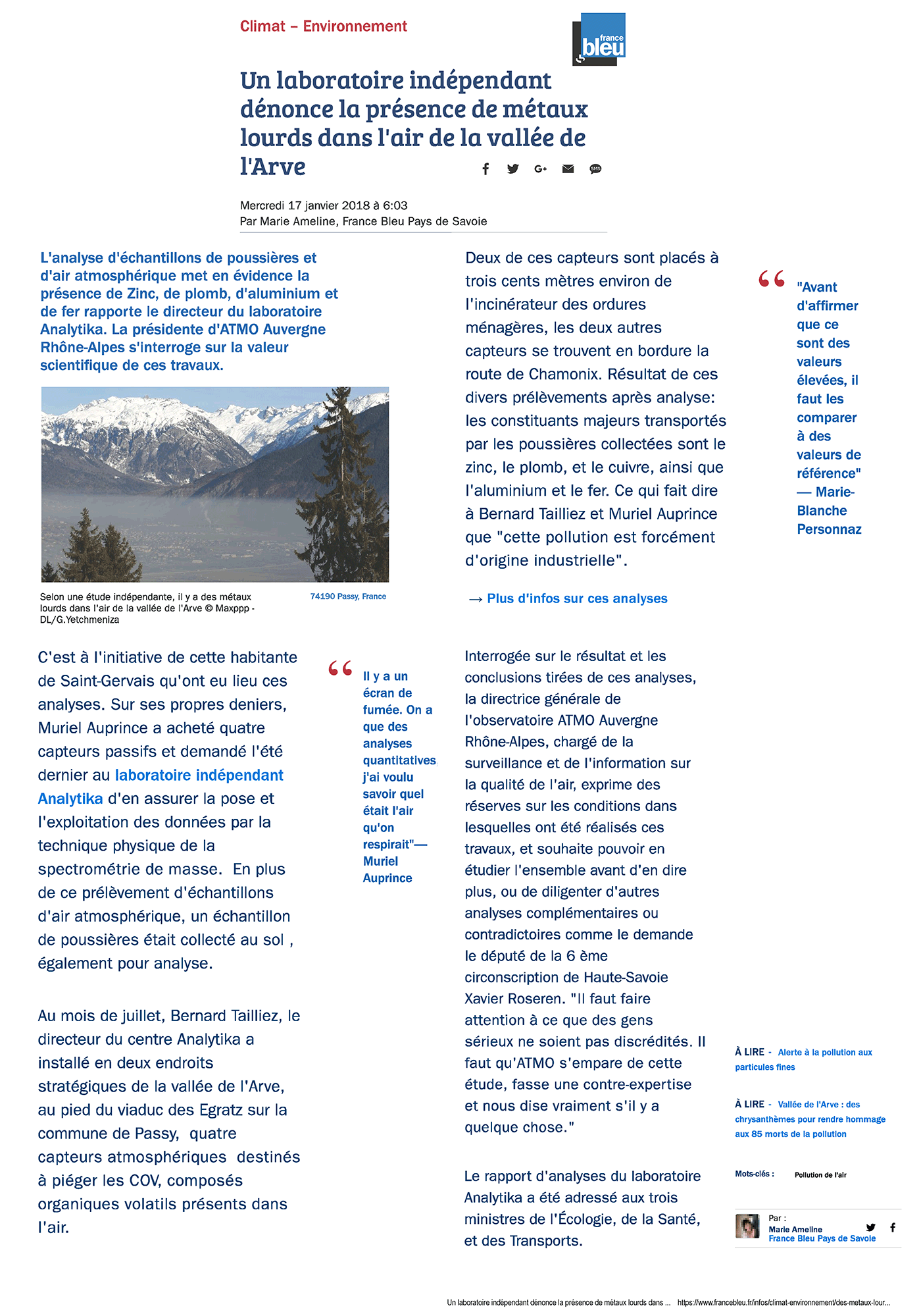 """17.01.2018 > FRANCE BLEU : """"Un laboratoire indépendant dénonce la présence de métaux lourds dans l'air de la vallée de l'Arve"""""""