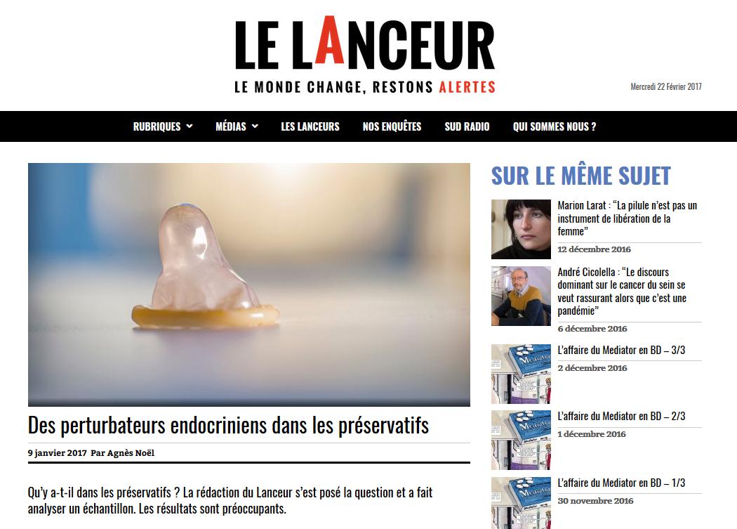 """09 JANV 2017 > LELANCEUR.FR : """"Des perturbateurs endocriniens dans les préservatifs"""""""