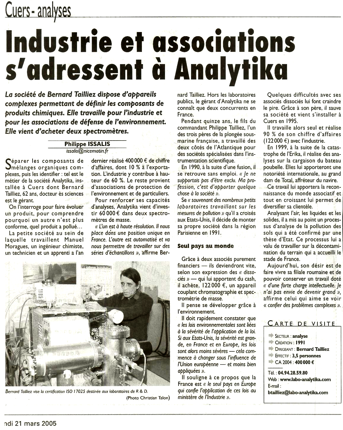"21 MARS 2005 > VAR MATIN : ""Industries et associations s'adressent à Analytika"""