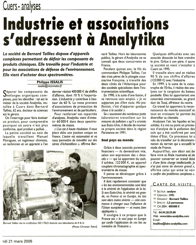 "21.03.2005 > VAR MATIN : ""Industries et associations s'adressent à Analytika"""