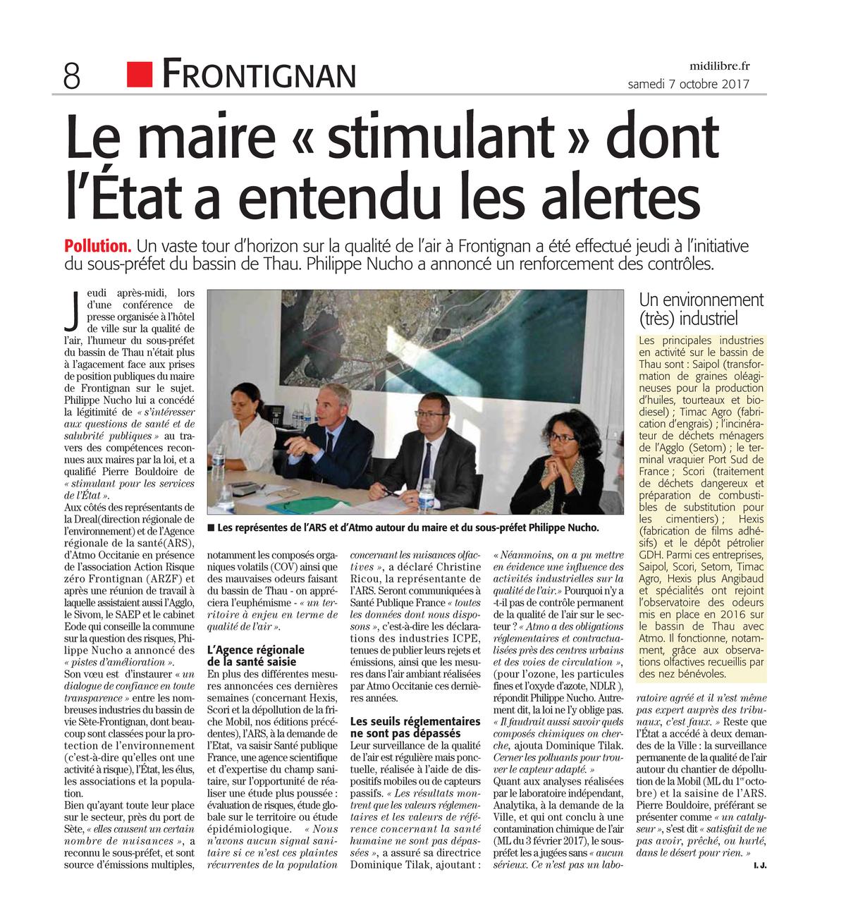 """07.10.2017 > MIDI-LIBRE : """"Le Maire « stimulant » dont l'État a entendu les alertes"""""""