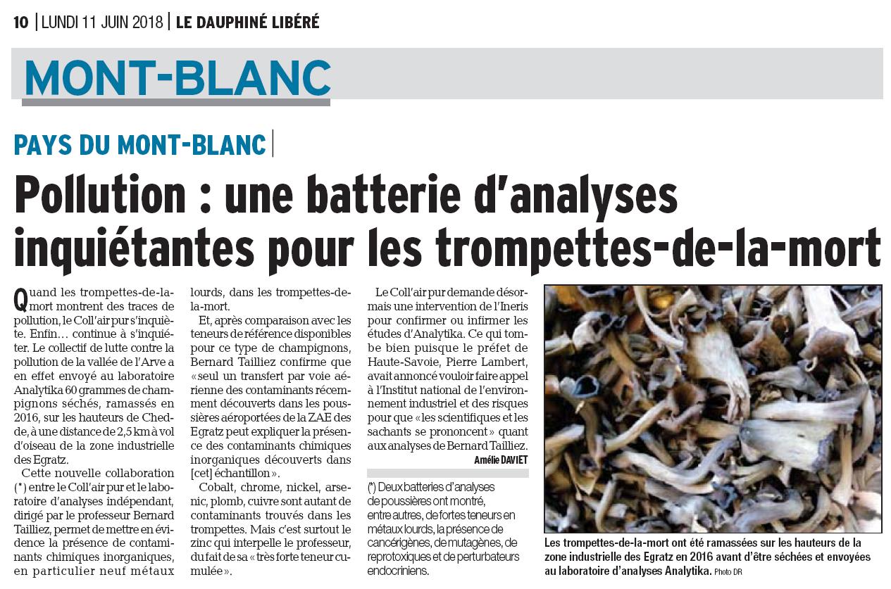 """11.06.2018 > LE DAUPHINÉ LIBÉRÉ : """"Pollution : une batterie d'analyses inquiétantes pour les trompettes-de-la-mort"""""""