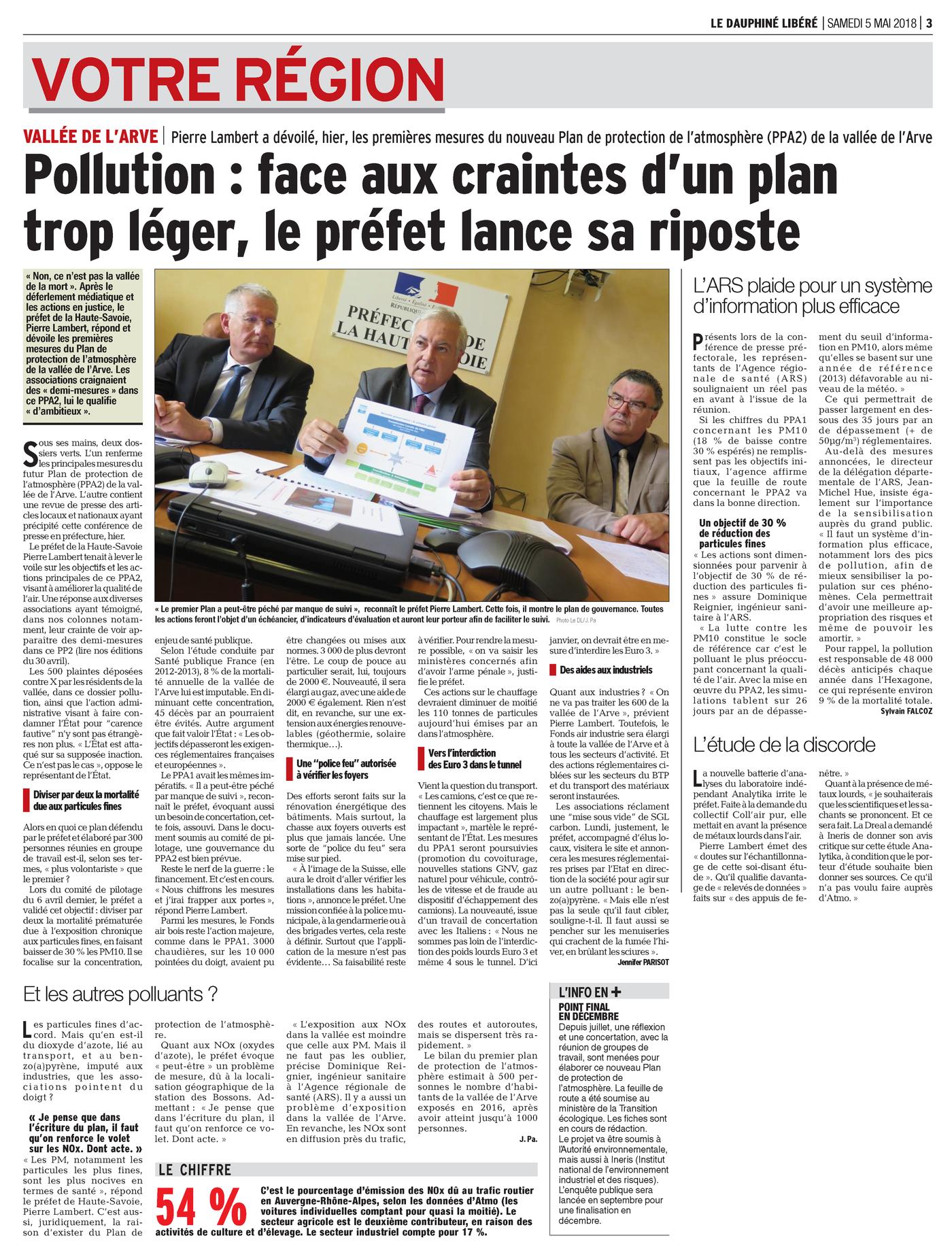 """05.05.2018 > LE DAUPHINÉ LIBÉRÉ : """"Pollution dans la Vallée de l'Arve : face aux craintes d'un plan trop léger, le préfet lance sa riposte"""""""