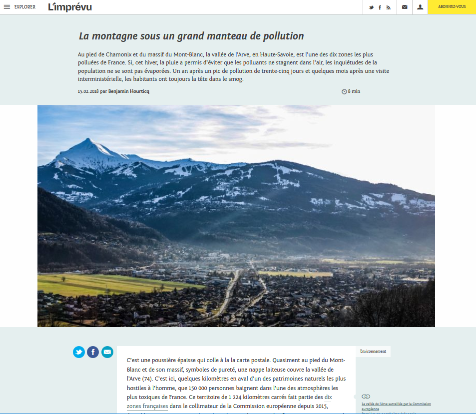 "15.02.2018 > L'IMPRÉVU : ""La montagne sous un grand manteau de pollution"""