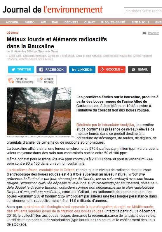 """11.12.2014 >  LE JDE : """"Déchets : Métaux lourds et éléments radioactifs dans la Bauxaline®"""""""