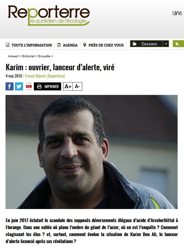 """04.05.2018 > REPORTERRE : """"Acide sur le crassier d'Hayange : Karim ouvrier, lanceur d'alerte, viré"""""""