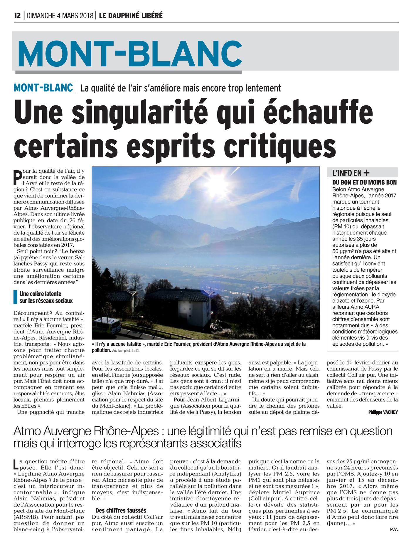 """04.03.2018 > LE DAUPHINÉ LIBÉRÉ : """"La qualité de l'air dans la vallée de l'Arve s'améliore mais encore trop lentement : Une singularité qui échauffe certains esprits critiques"""""""