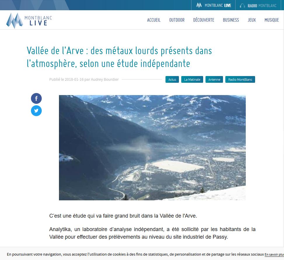"""16.01.2018 > MONT-BLANC LIVE : """"Vallée de l'Arve : des métaux lourds présents dans l'atmosphère, selon une étude indépendante"""""""