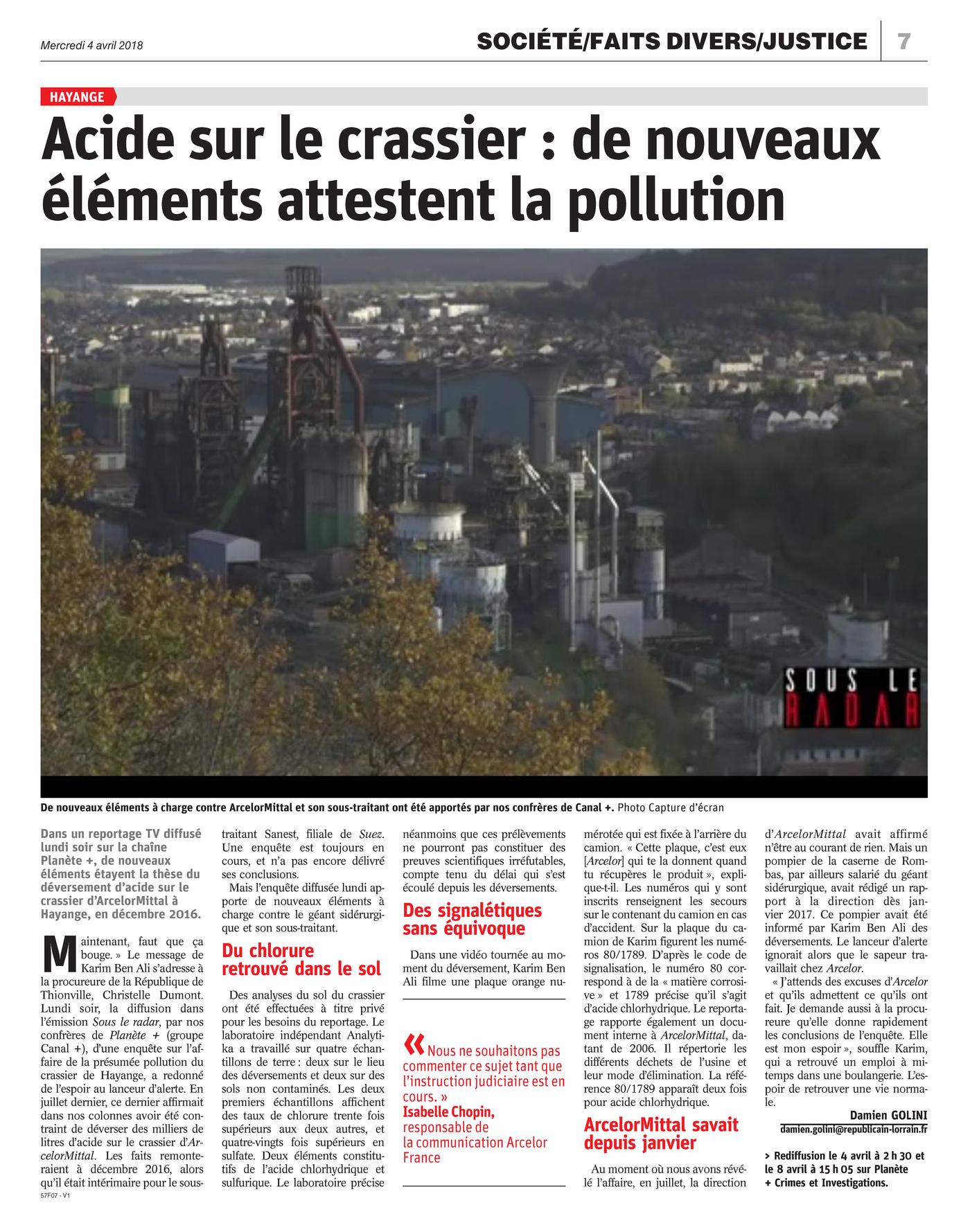 """04.04.2018 > LE RÉPUBLICAIN LORRAIN : """"Acide sur le crassier d'Hayange : de nouveaux éléments attestent la pollution"""""""