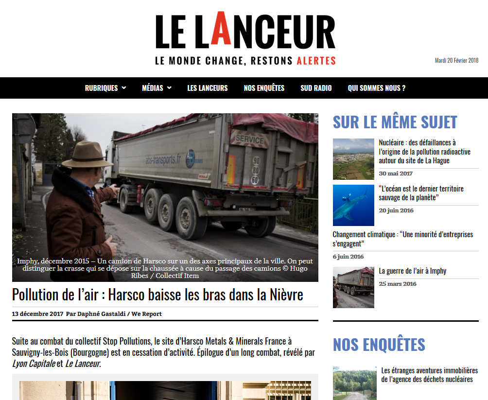 """13.12.2017 > LELANCEUR.FR : """"Pollution de l'air à Imphy : Harsco baisse les bras dans la Nièvre"""""""