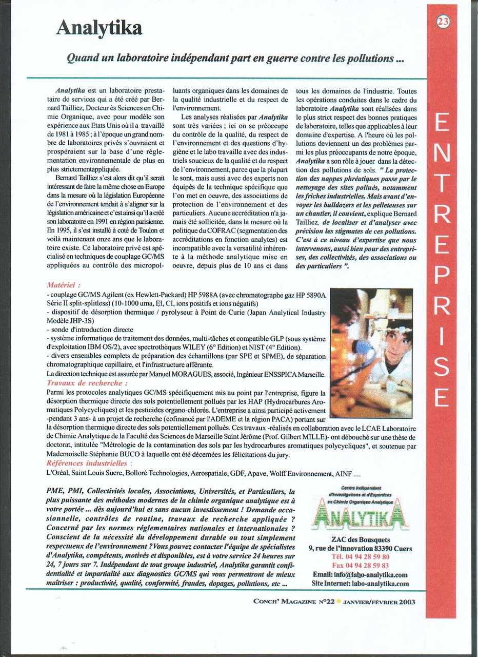 """15 FEV 2003 > CONCH MAG : """"Quand un laboratoire part en guerre contre la pollution"""""""