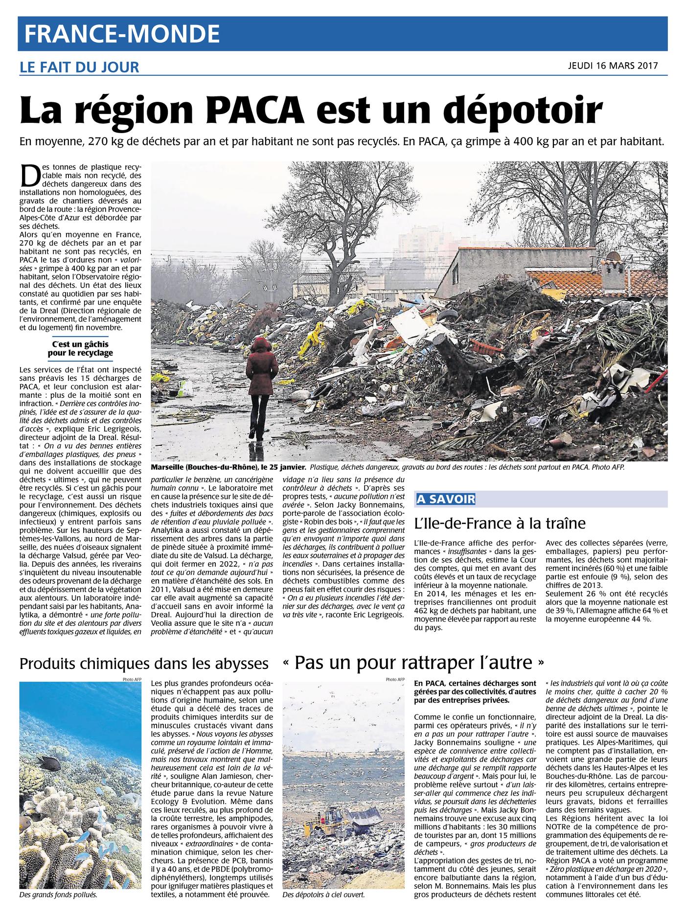 """16.03.2017 > AFP (Marseille) : """"La région PACA malade de ses déchets"""""""