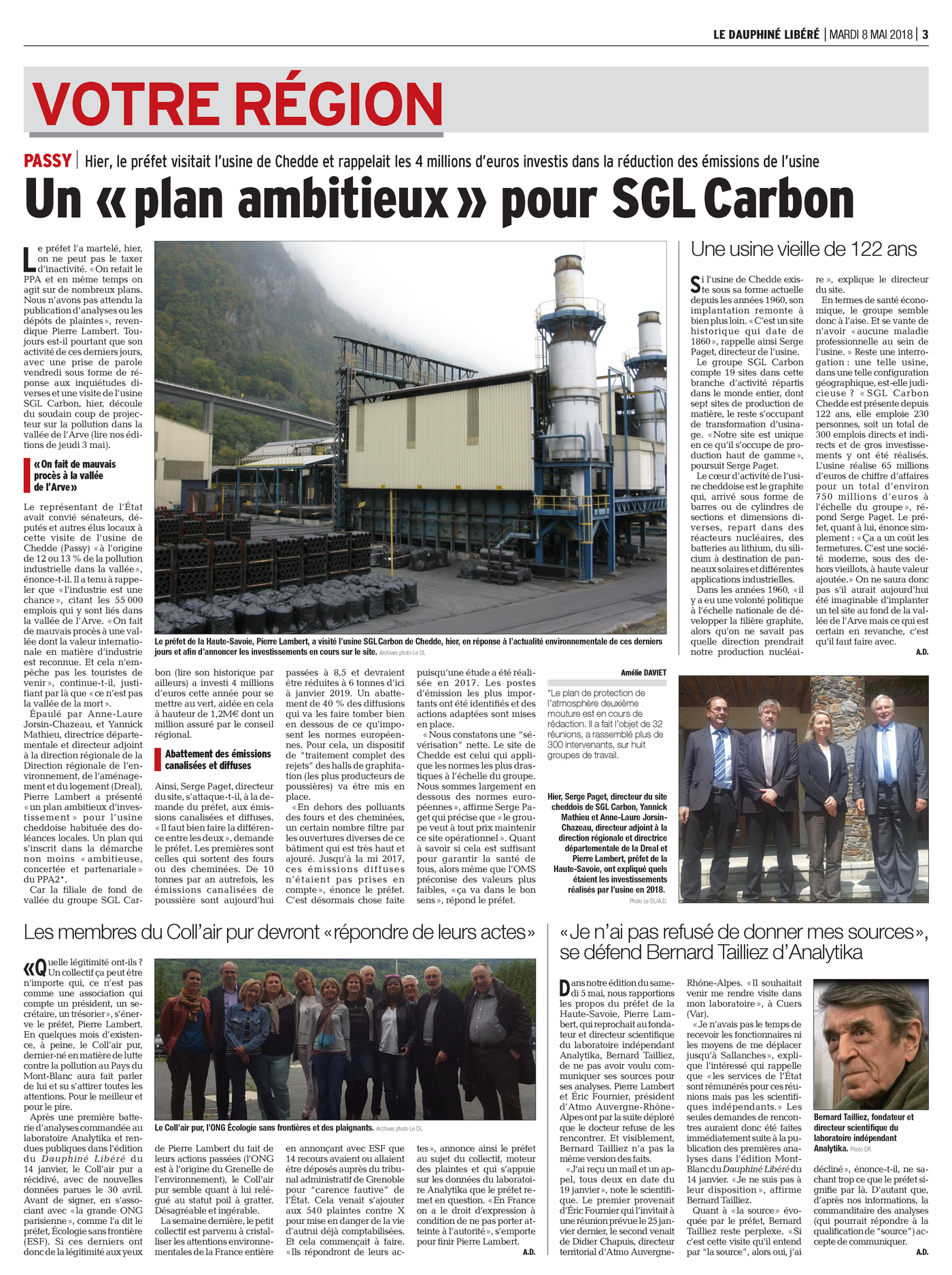 """08.05.2018 > LE DAUPHINÉ LIBÉRÉ : """"Un « plan ambitieux » pour SGL Carbon"""""""