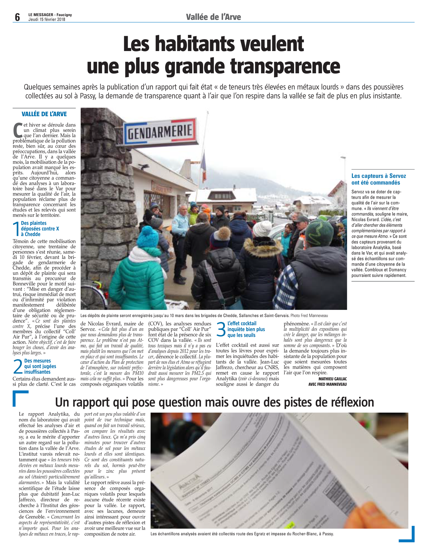 """15.02.2018 > LE MESSAGER : """"Vallée de l'Arve : Les habitants veulent une plus grande transparence"""""""