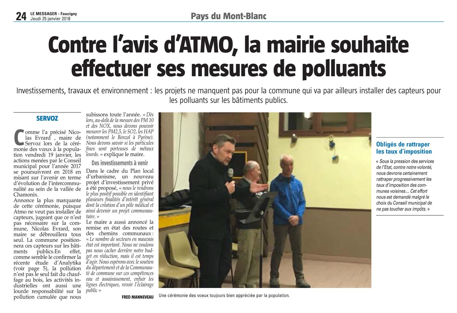 """25.01.2018 > LE MESSAGER : """"Contre l'avis d'ATMO, la mairie de Servoz souhaite effectuer ses mesures de polluants"""""""
